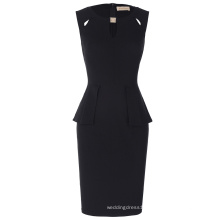 Kate Kasin Women's Crew Neck Cut out Peplum Black Sleeveless Short Business Pencil Dress Summer Dress KK000395-1