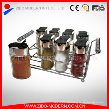 Botella de especias de vidrio de cocina útil / especias jarra con especias Rack