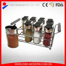 Frasco de vidro da especiaria da cozinha / frasco útil da especiaria com cremalheira da especiaria