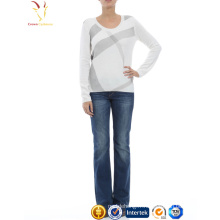 Womens nouveau conçu col rond Intarsia tricoté pull en laine de cachemire