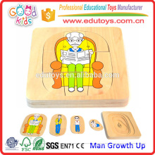 Hot Sale Kindergarten Educational Toy Man Growth Up Kids Wooden Puzzle