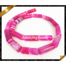 Natural Rose Agate Smooth Tube Beads, Striped Agate Gemstone Beads Jewelry (AG022)