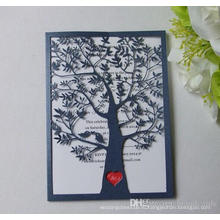 Любовь дерево лазер вырезать полые выполненные на заказ бумажные Приглашения на свадьбу открытки поставку ML279