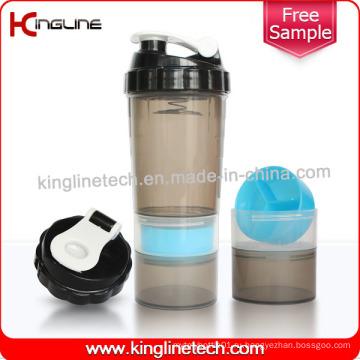 Бутылка для пауков 600 мл Пластиковая бутылка для протеинов с пружиной из блендера из нержавеющей стали с 2 контейнерами, без BPA (KL-7005)