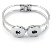 Atacado de Prata Charm Copper Jóias Snap Button Bracelet