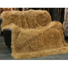 Hiasan Moden Asli Mongolia Lamb Fur Blanket Home Decoration