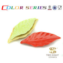 Ceramic colorful natural leaf sushi plates for restaurant