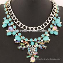 2014 novo design elegante flor rhinestone colar de flores