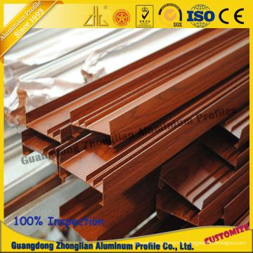 Grain en bois de revêtement de poudre de profil d'extrusion en aluminium pour le profil de fenêtre