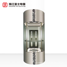 Fuji Brand Low Cost High Quality Safety Beautiful Sightseeing home small residential elevator for villa house