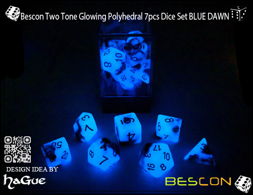 Bescon Two Tone Glowing Polyhedral 7pcs Dice Set BLUE DAWN-4