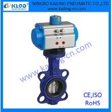 Válvulas pneumáticas de borboleta, atuador operado, vedação PTFE, ar, água, gás, óleo, vapor