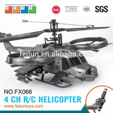 NEW! 2.4G 4CH ABS material 6-axis gyro single propeller military modeling amphibious rc helicopter for sale