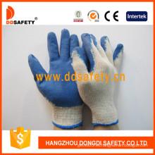 Guante de látex negro de poliéster blanco de venta caliente, acabado liso (DKL315)
