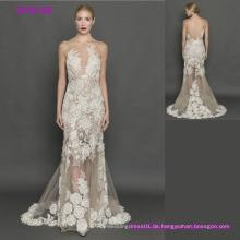 Hochwertige elegante graue Spitze Transparent Open Back Brautkleider