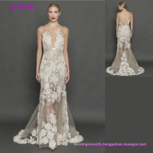 High Quality Elegant Grey Lace Transparent Open Back Wedding Dresses