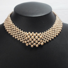 Collier Faux Gold Pearl Collar