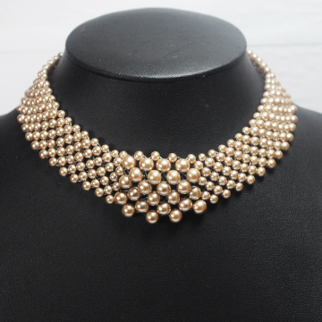 Faux Gold Pearl Collar Necklace