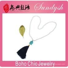 Joyería estilo Boho Collar de Buda borla negra hecha a mano Joyería de Buda