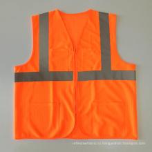 Высококачественный флуоресцентный оранжевый ANSI 107 сетчатый отражающий жилет на молнии с карманами