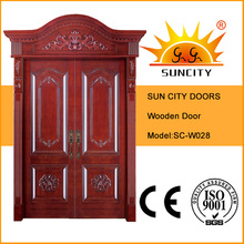 Porta de madeira da entrada de madeira exterior real da coroa (SC-W028)