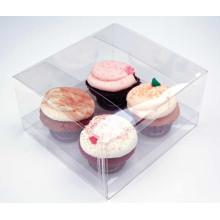 Caja plástica Crytal plegables personalizada para pastel (contenedor de PET)