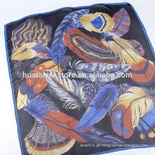 Italiano tribal pele marca grande cachecol de seda quadrada