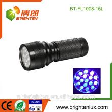 Luz caliente púrpura 3 * aaa del detector de escorpión del OEM de la alta calidad de la venta Operado linterna llevada ultravioleta de 16Led ultravioleta para el efectivo falsificado