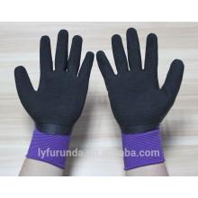 Luvas de nylon calibre 13 revestidas com látex de espuma na palma, acabamento de rugas