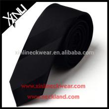 100% fait à la main à sec seulement cravate mince en soie tissée noire jacquard