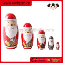 La venta caliente Papá Noel muñeca de anidación de madera hade hizo la muñeca
