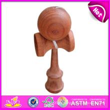 Madera interesante Kendama al por mayor, juguete de madera divertido de la mejor calidad Kendama, juguete de madera de Kendama con 18.5 * 6 * 7cm W01A023