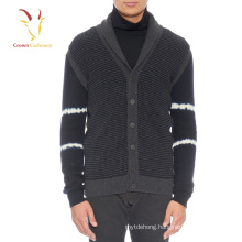 Men's Chunky Knit Cardigan Sweater With Shawl Collar