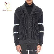 Мужская коренастый вязать свитер кардиган с Шалевым воротником