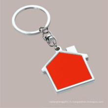 Impression personnalisée personnalisée Laser Engrave Logo Porte-clés en forme de maison (F1098D)