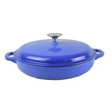 round shallow cast iron casserole dish