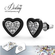 Destino joias cristais de Swarovski coração garanhão brincos