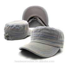 Personalize em branco Washed Denim Military Caps Fábrica de Dongguan