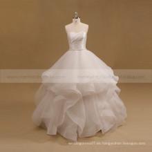 Encantador dulce plisado corpiño vestido de organza bola vestido de novia fruncido cinturón
