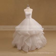 Lovely Sweet Heart Pleated Bodice Organza Ball Gown Wedding Dress Beaded Belt