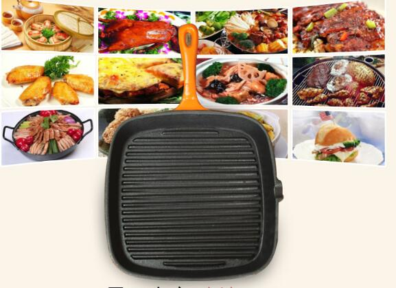 High quality  enamel  cast iron square grill pan