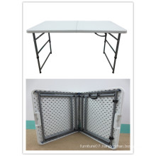 4FT Solid Height Adjustable Plastic Folding Table, HDPE Blow Molding Plastic Folding Table