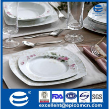 luxury square new bone china finished products dinnerware set&dinner set/flower decorated plate