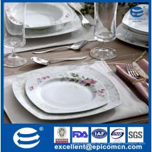 Luxuoso quadrado nova óssea china produtos terminados dinnerware set & dinner set / flor decorada placa