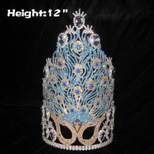 Coronas de desfile de máscara de cristal de pavo real de 12 pulg.