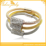 2014 High Quality Stainless Steel Mesh Bracelet With Shiny Crystal