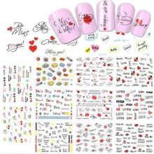 Factory Wholesale 11Style/Set Trendy Nail Art DIY Accessories Stickers Girl Cartoon Nail Watermark Sticker