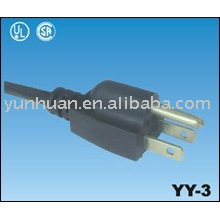 Cable de poder tipo americano con cable de enchufe 3prong lista de UL
