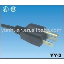 UL listado o cabo de alimentação tipo americano com plugue o cabo flexível 3prong
