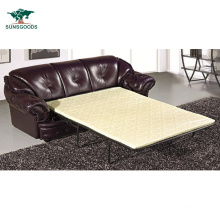 Leisure Style Wooden Frame Genuine Leather Sleeper Sofa Bed